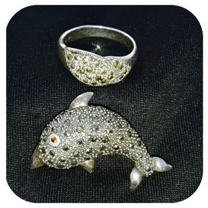 VINTAGE STERLING SILVER MARCASITE DOLPHIN AND RING SET for Sale in San Antonio, TX