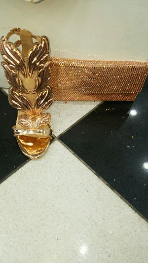 Heels and clutcher gold bag for Sale in Queens, NY