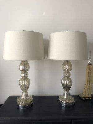 Pair of Lamps - Mercury Base and Linen Shade for Sale in Jersey City, NJ