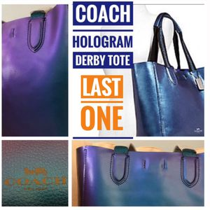 Coach Derby Tote Purse Bag Large Pebbled Leather Diaper Bag Hologram F59388 Blue Purple NWT for Sale in Pittsburgh, PA