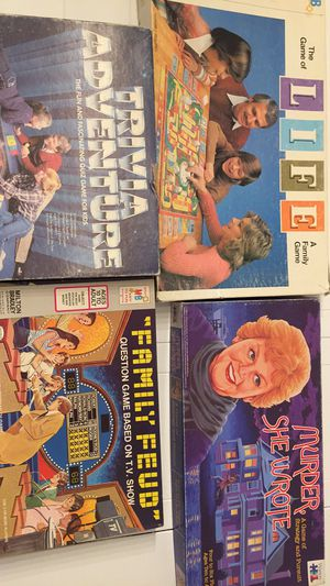 Vintage Board Games (Life, Trivia Adventure, Family Feud & Murder She Wrote for Sale in Martinez, CA