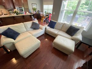 Cream Leather Sofa Set w/ Ottomans and End Tables for Sale in Ashburn, VA