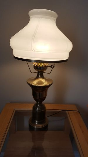 Vintage Brass Hurricane Lamp with Milk Glass Shade for Sale in Kyle, TX