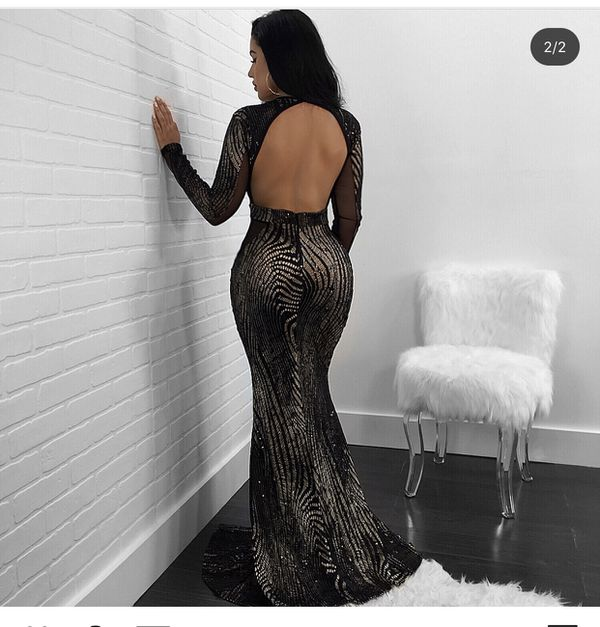 Black long Slit gown dress
