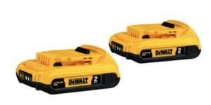 DEWALT XR 2-Pack 20-Volt Max 2-Amp-Hours Lithium Power Tool Battery - DCB203 for Sale in Aurora, CO