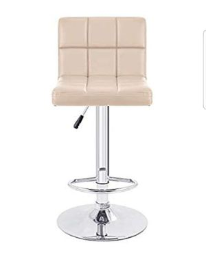 Furmax Bar Stools Modern Pu Leather Swivel Adjustable Hydraulic Bar Stool Square Counter Height Stool Set of 2(White) for Sale in Riverside, CA
