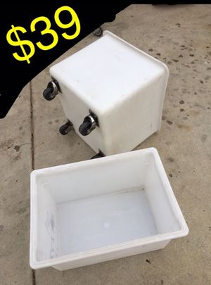 1 white tote with wheels. And 1 tote. Both $30 Tote with wheels has cracks on bottom very sturdy. Not recommended for liquids for Sale in Ontario, CA