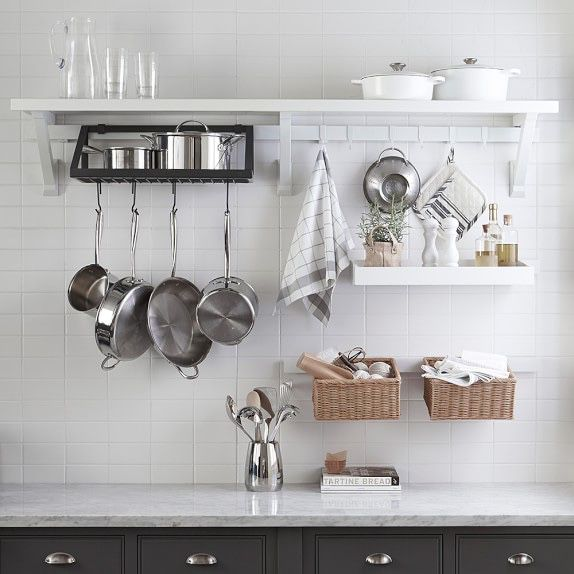 New Williams Sonoma White Addison Wall Shelving and Accessory System