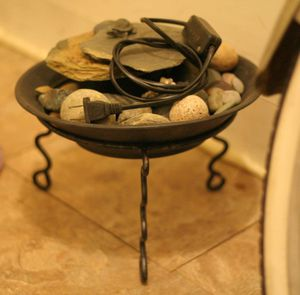 Small Water Fountain Rocks Bowl Wrought Cast Iron Stand for Sale in Hicksville, NY