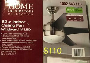 Windward IV LED 52 Indoor fan with light kit and remote for Sale in Los Angeles, CA