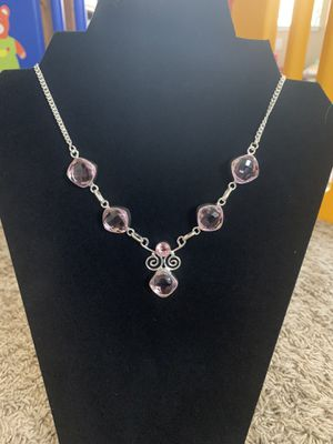 Sterling silver pink quartz necklace 35$ very firm for Sale in Elk Grove, CA