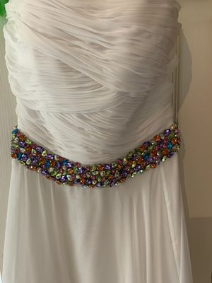 White prom floor length dress with rhinestone midsection for Sale in Powder Springs, GA