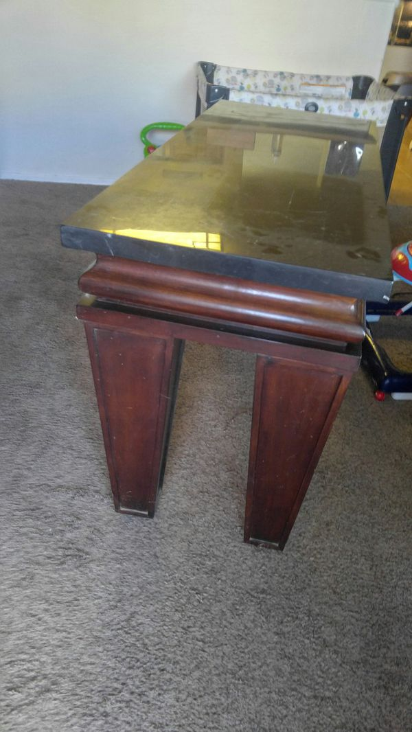 MARBLE top, tv stand w/matching side table.