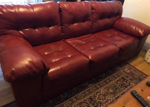 REAL red leather couch need gone ASAP for Sale in San Jose, CA