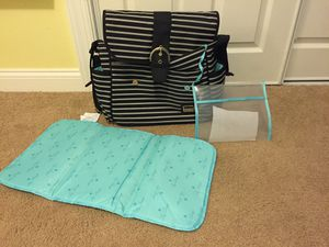 Liz Lange black grey striped diaper bag for Sale in Gibsonia, PA