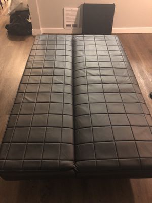 Black Leather Sofa / futon for Sale in Seattle, WA