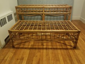 Antique Bamboo coffee table and console table set with clear glass tops for Sale in Woburn, MA