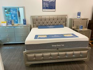 Jasmine Silver Queen Bedroom Set ONLY $599. KING $699. No credit check financing for Sale in Tampa, FL