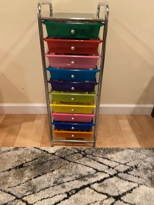 Multicolored storage unit with drawers for Sale in Needham, MA
