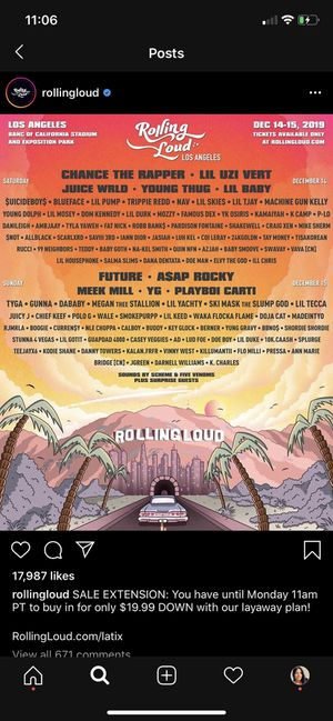 Rolling loud tickets for Sale in Los Angeles, CA