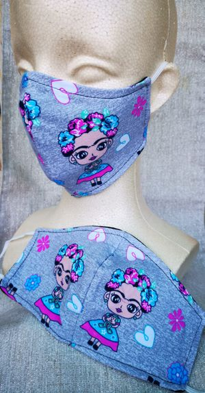 Adult Large Face mask (Frida Kahlo Gray): Hand made mask, reversible, reusable, washer and dryer safe. #halloween #girls clothes for Sale in Long Beach, CA