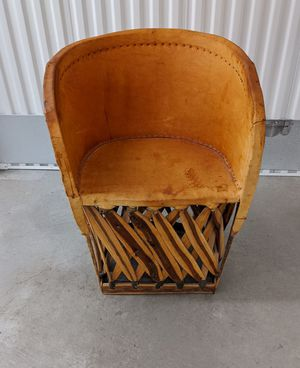 Vintage Hand made Mexican Equipale tanned hide and cedar barrel chair for Sale in Seattle, WA