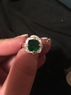 Emerald surrounded by white sapphires set in solid sterling silver ring for Sale in Terre Haute, IN