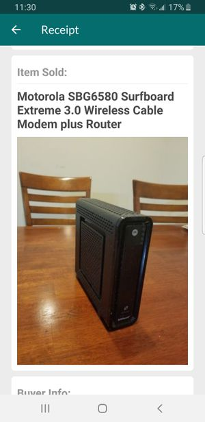 Motorola SBG6580 Surfboard Extreme 3.0 Wireless Cable Modem  With Router for Sale in Austin, TX