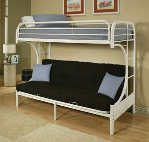 White Twin Over Futon Bunk Bed for Sale in Salem, OR