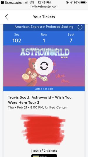 TRAVIS SCOTT w/ Sheck Wes @ United Center, Chicago Thursday, Feb. 21, 2019 for Sale in Chicago, IL