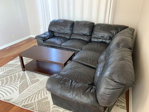 Black Leather sectional couch for Sale in Beaverton, OR