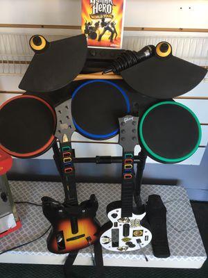 Guitar hero game with 2 guitars, drum set and mic for Sale in Waterbury, CT