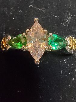 Unique Size 10 Silver Filled Emerald Ring With Gold Accents for Sale in Wenatchee,  WA