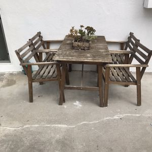 Outdoor Wooden Table With 4 Chairs And 2 Lawn chairs for Sale in West Hollywood, CA