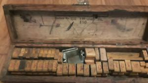 Old stamper letters and numbers in old wooden box for Sale in Cleveland, OH
