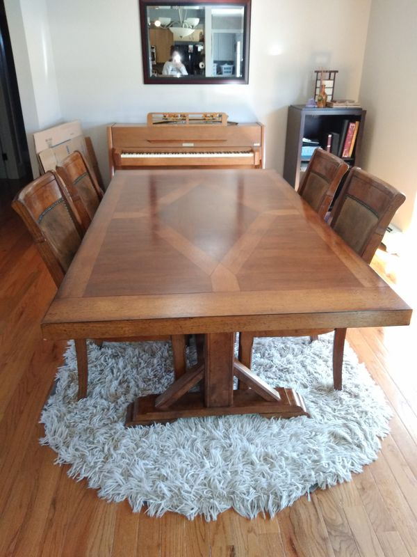 Dining table and chairs with buffet table