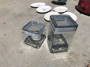2 glass jars with tops for Sale in San Diego, CA
