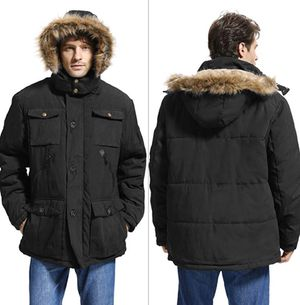 Mens Winter Parka Insulated Warm Jacket Coat Faux Fur with Pockets and Detachable Fur Hood Yozai Mens Winter Parka Insulated Warm Jacket Coat Faux for Sale in Vista, CA