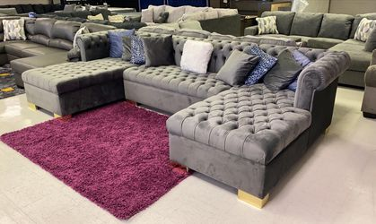 😍😍Lauren Grey Double Chaise Oversized Huge Biggerthan market Sectional couch Velvet << No credit check >>👈 for Sale in Houston,  TX