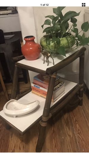 Mid Century Modern Tiered Side Table by Vogue Rattan Bamboo Plant Stand Shelf for Sale in Englewood, CO