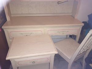 solid wood desk with light and bookshelf and matching chair,with matching nightstand. for Sale in Coronado, CA
