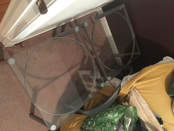 Pair of IKEA glass end tables