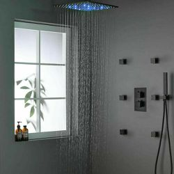 "Shower faucet set Thermostatic Valve Black 16""LED Rain Shower Head Massage Jets for Sale in Los Angeles,  CA"