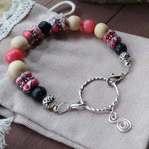 Lava Stone & Coral Colored Bracelet Hand Made by me at Baubles 'n Bits 4 U for Sale in Little Rock, AR