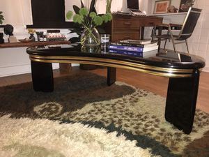 Vintage 80s Black and Gold Laminate Kidney Shaped Coffee Table for Sale in Los Angeles, CA