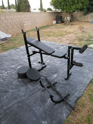 Weight bench and pull up bar and weights all for for Sale in Riverside, CA
