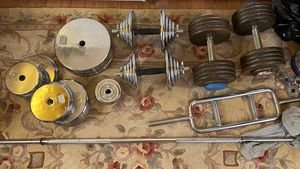 Standard weights 300 + lbs...set of dumbbells 100 lbs each for Sale in Baltimore, MD
