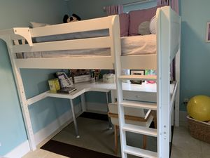 Full size kids loft bed with corner desk and study desk tall white for Sale in Miami, FL