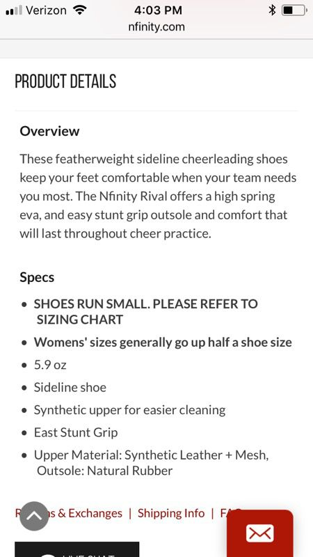 Nfinity Rival Cheerleading Shoes Size 9 For Sale In Tucson Az Offerup