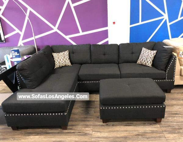Black L Shape Reversible Chaise Couch Sofa Sectional With Ottoman